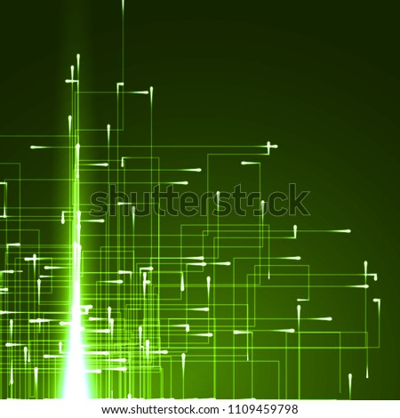 technology abstract with mowing particules with energy trails.