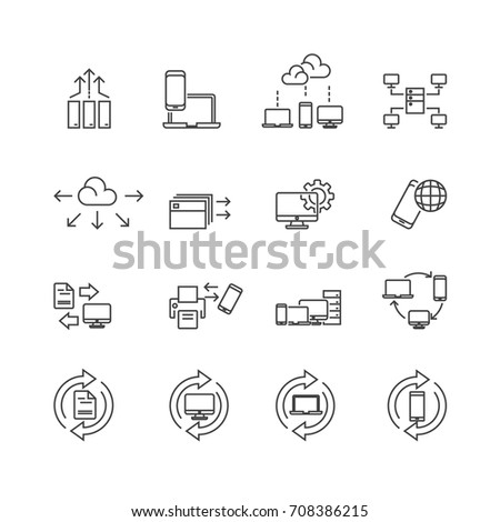 Technology and Data icons set,Vector