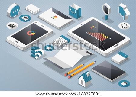 technology and social media, vector mock up