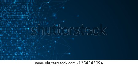 Technology background. Big data concept. Binary computer code.  Vector illustration.