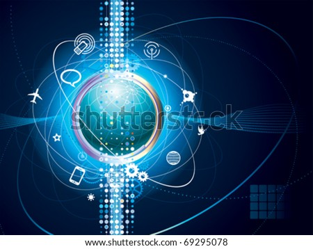 Technology background of Global communication connection.