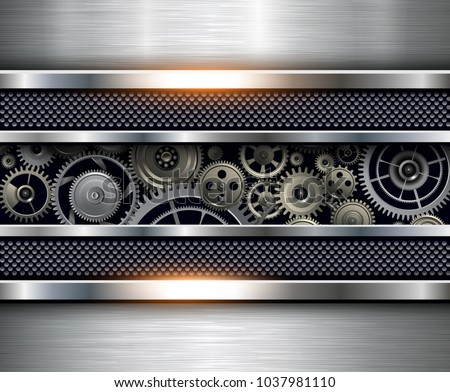 Technology background, silver metallic with gears inside, vector design.