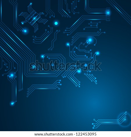 Technology background with circuit board elements. Vector illustration.