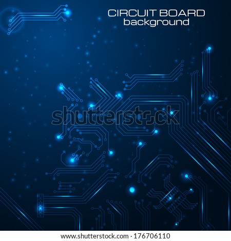 Technology background with circuit board elements Vector illustration