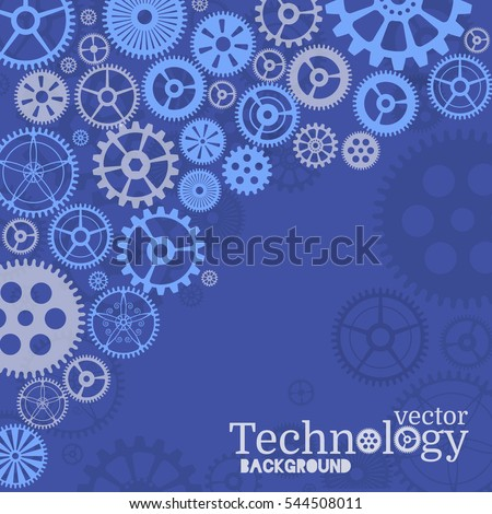 Technology background with gear wheel, cover template. Vector background.