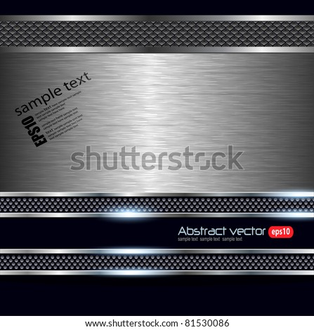 Technology background with metallic banner, vector. - stock vector