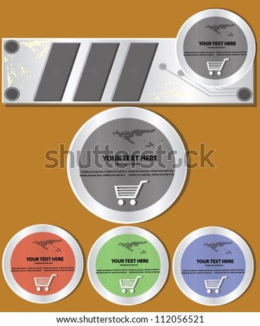 Technology banner and basket,Vector