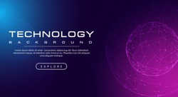 Technology banner line link world sphere, pink blue background concept with light effects, illustration vector