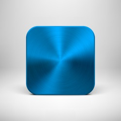 Technology blank app icon (button) template with blue (cyan) metal texture (chrome, steel), realistic shadow and light background for interfaces (UI), applications (apps) and business presentations.