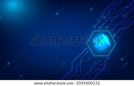 Technology block chain in present fot investment display or bit coin virtual machine. Currency of finance for trade or decission information diagram stock profit. Stock fotó ©