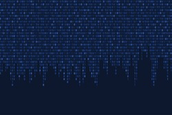 Technology blue background. Binary code cyber texture. Seamless binary code vector with copyspace.