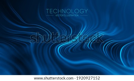 Technology blue wave vector. Technological background abstract connected wave. Digital waves abstract sea. Blur technology background led fibers. Vector illustration.
