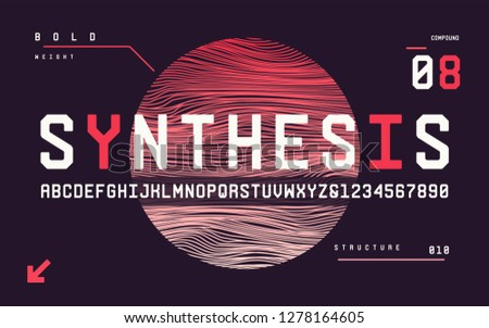 Technology bold san serif uppercase letters and numbers, alphabet, font. Vector illustration.