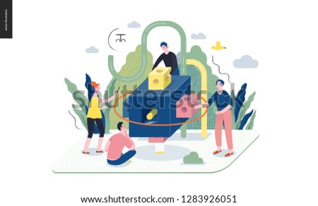 Technology 1 -Brand modern flat vector concept digital illustration branding metaphor, company brand promotion. Business workflow and team management Creative landing web page design template
