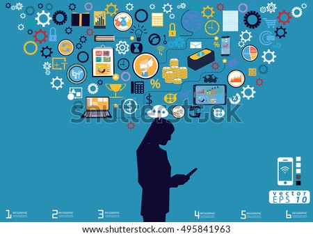 Technology Business Communication  modern Idea and Concept Vector illustration with icon.