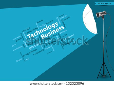 Technology business concept of word cloud, with creative studio lighting, Vector illustration modern template design