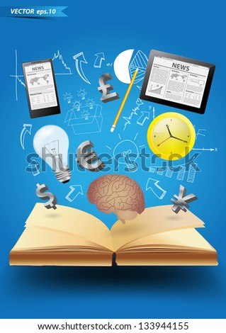 Technology business creative concept idea flying out of book, Vector illustration modern template design