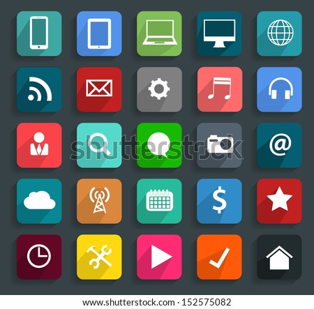 Technology business flat icons, Vector illustration modern template design