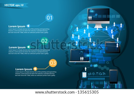Technology business network process diagram concept idea make in man think, Vector illustration Modern template Design