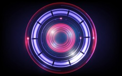 Technology circle blue red purple background abstract art design for network circuit communication energy power concept art