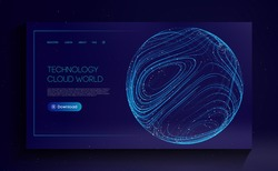 Technology Cloud World. Globe network fintech concept. Blockchain transfer satellite future communications vector background.