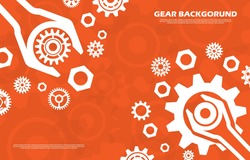 Technology cogwheel pattern with wrench on orange background EP.3.Used to decorate on message boards, advertising boards, publications and other works