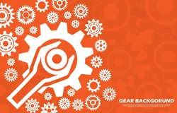 Technology cogwheel pattern with wrench on orange background EP.4.Used to decorate on message boards, advertising boards, publications and other works