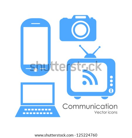 Technology communication icons set