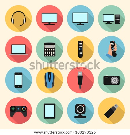 technology, computer, electronic device, tv and media web colorful flat design icons set. template elements for web and mobile applications