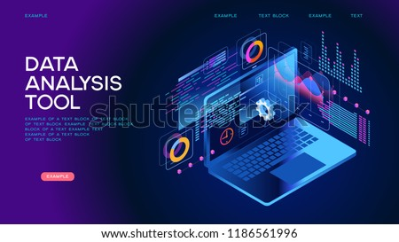 Technology concept. Build a chart and graphs. Concept of the idea of innovative data analysis. Page template. 3d isometric illustration