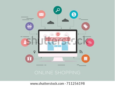 Technology concept idea, e-commerce and online shopping 24 hour, flat line vector and illustration. #711256198