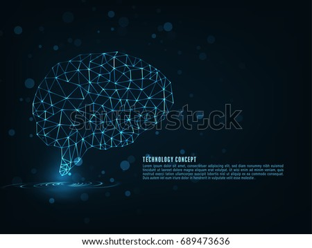 Technology concept. Polygonal brain shape of an artificial intelligence with lines and glowing dots and shadow over the dark blue background.