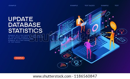 technology concept. Update database statistics. Workflow and business management. People interacting with graphs and papers. 3D vector isometric illustration.