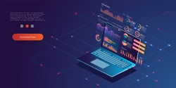 Technology concept. Update database statistics. Workflow and business management. vector isometric illustration