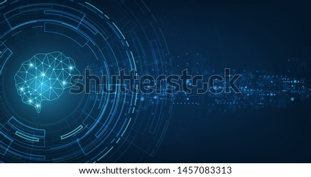 technology concept.vector abstract polygonal human brain shape of an artificial intelligence with line dots and shadow on dark blue color background
