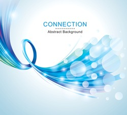 Technology connections optical fiber broadband blue abstract background.