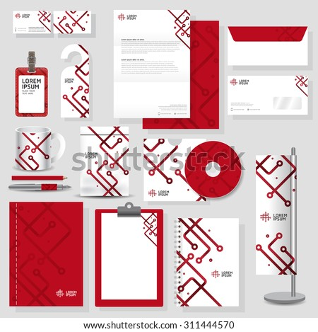Technology corporate identity template Stationery design set in vector format