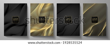 Technology cover background design set. Luxury line pattern (guilloche curves) in premium black, gold. Vector tech backdrop for business layout, digital certificate, formal brochure template, network