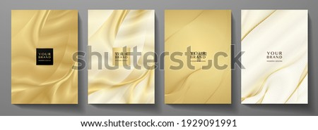 Technology cover background design set. Luxury line pattern (guilloche curves) in premium gold, black. Vector tech backdrop for business layout, digital certificate, formal brochure template, network
