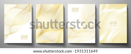 Technology cover background design set. Luxury line pattern (guilloche curves) in premium white, gold. Vector tech backdrop for business layout, digital certificate, formal brochure template, network