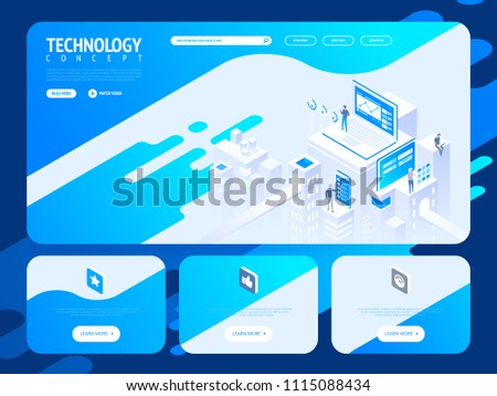 Technology creative website template design. Vector isometric illustration concept of web page design for website and mobile website development.