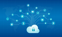 technology cyber cloud   network security background concept