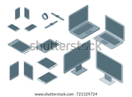 Technology Devices Set Isometric View Electronic Equipment Gadgets and Pc Mobile Phone for Web Design. Vector illustration of Device and Gadget