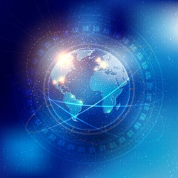 Technology elements with Earth and stars