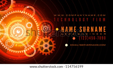 Business Card With Gear Download Free Vector Art Stock Graphics - Technology business card templates