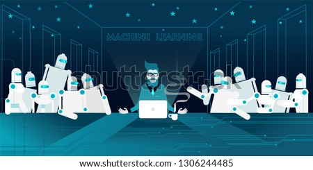 Technology evangelist bearded and in glasses with his androids robots AI apostles at The Last Supper