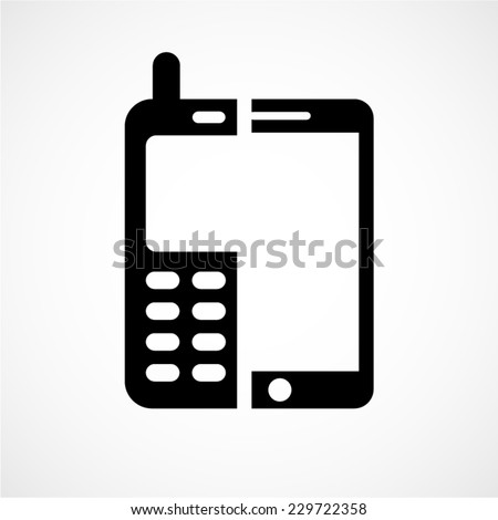 technology evolution, old versus new, cell phone vector icons