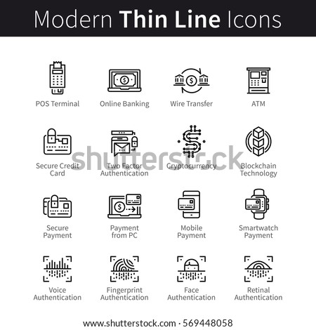 Technology for banking, payment transactions, buying and selling. Modern mobile & desktop security. Blockchain cryptocurrency. Thin black line art icons. Linear style illustrations isolated on white.