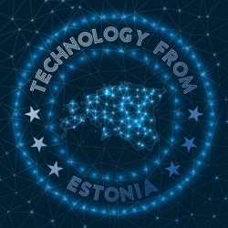 Technology From Estonia. Futuristic geometric badge of the country. Technological concept. Round Estonia logo. Vector illustration.