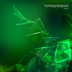 Technology green background with lines and dots